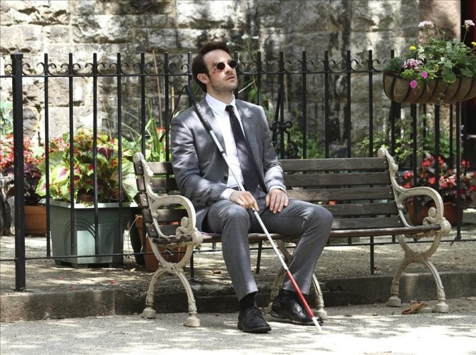 Charlie Cox shooting the 'Daredevil' TV series