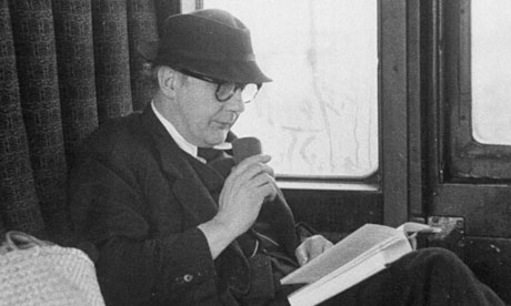 John Betjeman reading on the train